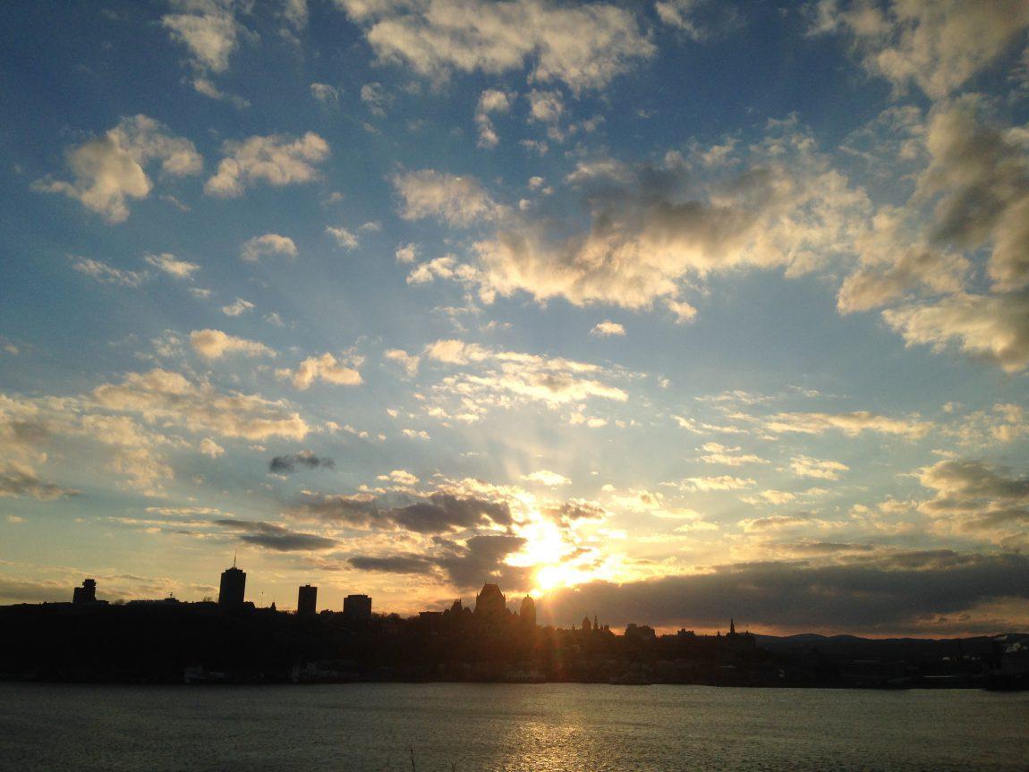 Coucher de soleil sur la ville de Québec